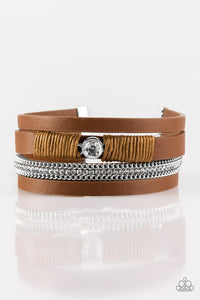 "Paparazzi ""Catwalk Craze"" Brown Leather White Rhinestone Wrap Bracelet Paparazzi Jewelry"