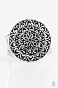 "Paparazzi ""Petal Mantra"" Silver Antiqued Round Floral Design Ring Paparazzi Jewelry"
