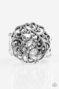 "Paparazzi ""Thrills and Frills"" Silver Filigree Vine Design Ring Paparazzi Jewelry"