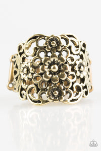 "Paparazzi ""Divinely Daisy"" Brass Daisy Antiqued Ring Paparazzi Jewelry"