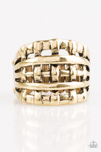 "Paparazzi ""Go To GRATE Lengths"" Brass Weave Pattern Ring Paparazzi Jewelry"