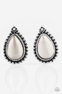 "Paparazzi ""Wouldn't GLEAM Of It"" White Moonstone Silver Teardrop Post Earrings Paparazzi Jewelry"