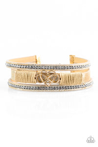 "Paparazzi ""Hustlin Heart"" Gold Tan Leather White Rhinestone Heart & Infinity Charm Wrap Bracelet Paparazzi Jewelry"