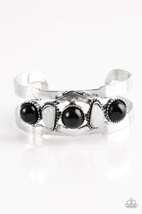 "Paparazzi ""Keep On TRIBE-ing""Black and White Bead Silver Cuff Bracelet Paparazzi Jewelry"