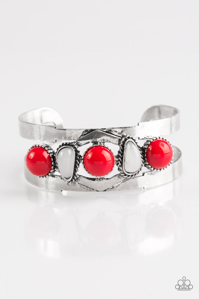 Paparazzi Quot Keep On Tribe Ing Quot Red And White Bead Silver