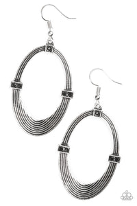 "Paparazzi ""Radiantly Rural"" Black Rhinestone Silver Oval Circular Frame Earrings Paparazzi Jewelry"