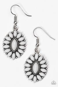 "Paparazzi ""Spring Tea Parties"" Silver Frame Gray Bead Shimmery Earrings Paparazzi Jewelry"