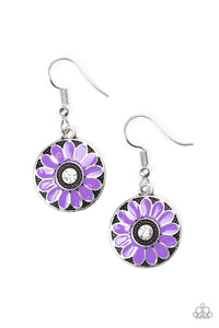 "Paparazzi ""Lily Luau"" Purple Petal Rhinestone Center Silver Floral Earrings Paparazzi Jewelry"