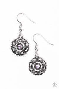 "Paparazzi ""Perennial Party"" Purple Rhinestone Silver Flower Design Earrings Paparazzi Jewelry"