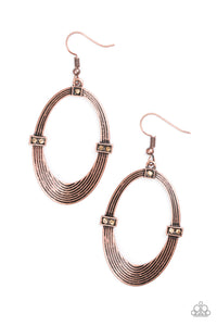 "Paparazzi ""Radiantly Rural"" Copper Oval Circular Topaz Frame Earrings Paparazzi Jewelry"