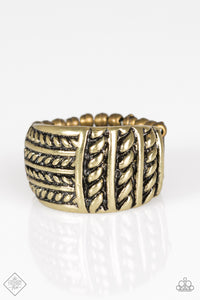 "Paparazzi ""Text-ure Later!"" FASHION FIX Magnificent Musings FEBRUARY 2018 Brass Rope-Like Ribbon Ring Paparazzi Jewelry"