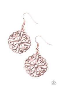 "Paparazzi ""Feeling Frilly"" Rose Gold Filigree Round Frame Rose Gold earrings Paparazzi Jewelry"