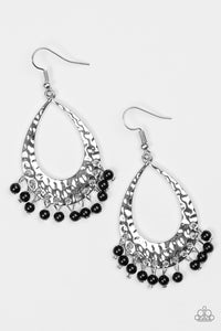 "Paparazzi ""Casually Cancun"" Black Bead Silver Teardrop Fringe Earrings Paparazzi Jewelry"