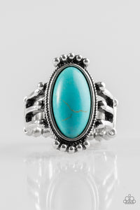 "Paparazzi ""Stone Arches"" Blue Turquoise Stone Silver Ring Paparazzi Jewelry"