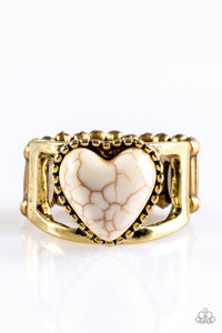 "Paparazzi ""Rule With Your Heart"" Brass Frame White Heart Shaped Stone Ring Paparazzi Jewelry"
