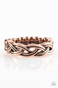 "Paparazzi ""Step Up To The PLAIT"" Copper Antiqued Braid Design Ring Paparazzi Jewelry"