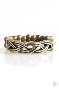 "Paparazzi ""Step Up To The PLAIT"" Brass Antiqued Braid Design Ring Paparazzi Jewelry"