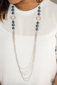 "Paparazzi ""Pour The Wine"" Blue Pearl Silver Hoop Chain Necklace & Earring Set Paparazzi Jewelry"