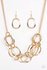 "Paparazzi ""Circus Chic"" Gold Ring Layered Necklace & Earring Set Paparazzi Jewelry"