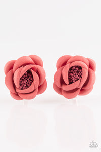 "Paparazzi ""Cute as a Bud"" Red Flower Beaded Center Set of 2 Flower Hairband Clip Paparazzi Jewelry"
