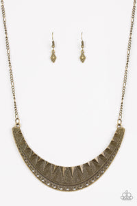 "Paparazzi ""Thrown To The Lions"" Brass Geometric Detail Crescent Necklace & Earring Set Paparazzi Jewelry"