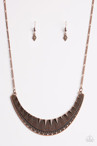 "Paparazzi ""Thrown To The Lions"" Copper Geometric Detail Crescent Necklace & Earring Set Paparazzi Jewelry"