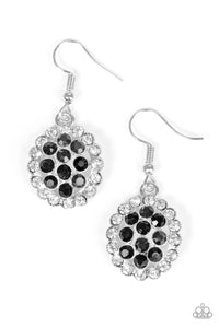 "Paparazzi ""Runway Ready"" Black and White Rhinestone Silver Earrings Paparazzi Jewelry"