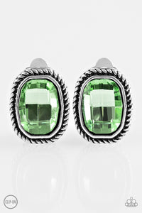 "Paparazzi ""Beam Dream"" Green Faceted Gem Silver Clip On Earrings Paparazzi Jewelry"