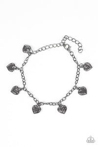 "Paparazzi ""Straight Through The Heart"" Black Gunmetal Heart Charm Bracelet Paparazzi Jewelry"