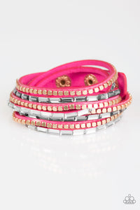 "Paparazzi ""This Time With Attitude"" Pink Suede White Rhinestone Gold Stud Double Wrap Bracelet Paparazzi Jewelry"