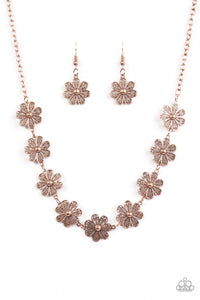 "Paparazzi ""Spring Beauty"" Copper Daisy Charm Necklace & Earring Set Paparazzi Jewelry"