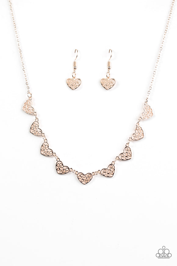 Paparazzi Love And Devotion Rose Gold Filigree Heart Charm Necklace Www Marissasblingonabudget Com