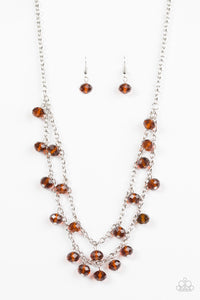 "Paparazzi ""Super Supernova"" Brown Faceted Crystal Like Bead Silver Necklace & Earring Set Paparazzi Jewelry"