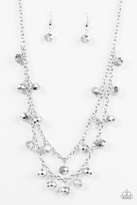 "Paparazzi ""Super Supernova"" Silver Metallic Crystal Like Bead Necklace & Earring Set Paparazzi Jewelry"
