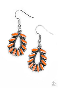 "Paparazzi ""Rainforest Romance"" Orange Petals Silver Teardrop Earrings Paparazzi Jewelry"