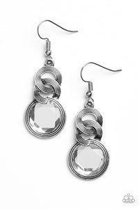 "Paparazzi ""Be GLAM Enough!"" White Gem Silver Circular Frame Earrings Paparazzi Jewelry"