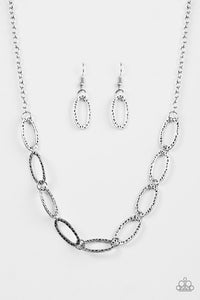"Paparazzi ""Legendary Lioness"" Silver Antiqued Hoop Necklace & Earring Set Paparazzi Jewelry"
