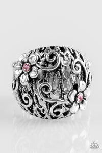 "Paparazzi ""Spring Holiday"" Pink Rhinestone Flower Bloom Silver Ring Paparazzi Jewelry"