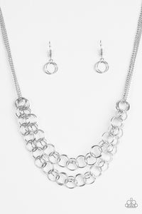 "Paparazzi ""Circus Tent Tango"" Silver Interlocking Layered Ring Necklace & Earring Set Paparazzi Jewelry"