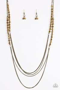 "Paparazzi ""Shimmer Showdown"" Brass Bead Aurum Brown Crystal Like Faceted Bead Necklace & Earring Set Paparazzi Jewelry"