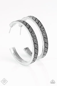 "Paparazzi ""Fabulously Foxy"" FASHION FIX Sunset Sightings March 2018 Etched Silver Hoop Earrings Paparazzi Jewelry"