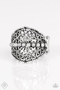 "Paparazzi ""Travel Treasure"" FASHION FIX Glimpses of Malibu March 2018 Ornate Silver Ring Paparazzi Jewelry"