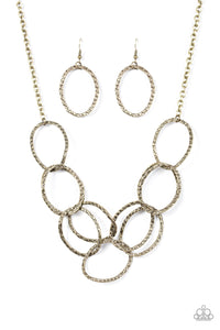 "Paparazzi ""Circus Royale"" Brass Asymmetrical Interlocking Ring Necklace & Earring Set Paparazzi Jewelry"