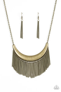 "Paparazzi ""Zoo Zone""Brass Crescent Plate Chain Fringe Necklace & Earring Set Paparazzi Jewelry"