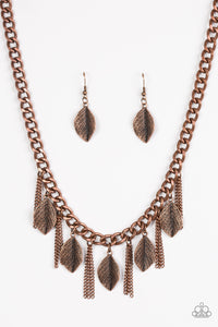"Paparazzi ""Serenely Sequoia"" Copper Leaf Design Necklace & Earring Set Paparazzi Jewelry"