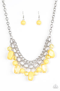 "Paparazzi ""Brazilian Bay"" Yellow Bead Layered Silver Chain Necklace & Earring Set Paparazzi Jewelry"