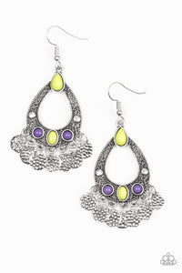 "Paparazzi ""Island Escapade"" Multi Yellow and Purple Bead Ornate Silver Teardrop Earrings Paparazzi Jewelry"