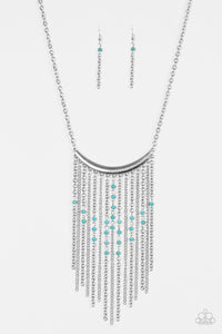 "Paparazzi ""Runaway Rumba"" Blue Stone Silver Frame Necklace & Earring Set Paparazzi Jewelry"