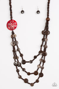 "Paparazzi ""Jungle Jive"" Red and Brown Wooden Bead Necklace & Earring Set Paparazzi Jewelry"