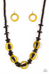 "Paparazzi ""Fiji Foxtrot"" Yellow and Brown Beaded Wooden Necklace & Earring Set Paparazzi Jewelry"